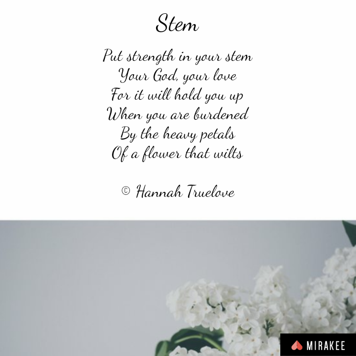 Put strength in your stemYour God, your loveFor it will hold you upWhen you are burdenedBy the heavy petalsOf a flower that wilts© Hannah Truelove